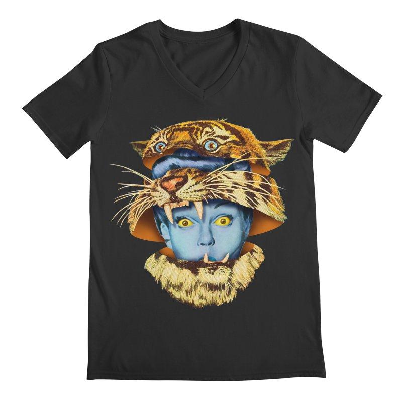 Tiger Lady Men's Regular V-Neck by Tom Burns
