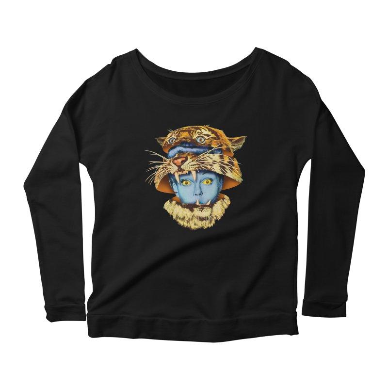 Tiger Lady Women's Scoop Neck Longsleeve T-Shirt by Tom Burns