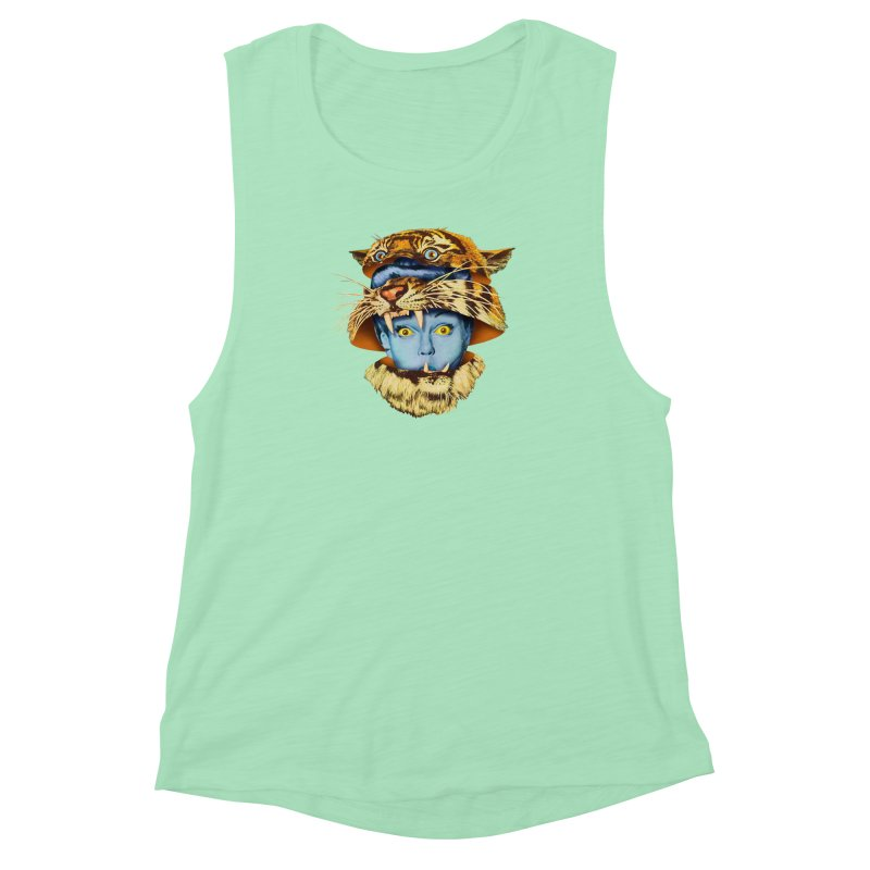 Tiger Lady Women's Muscle Tank by Tom Burns