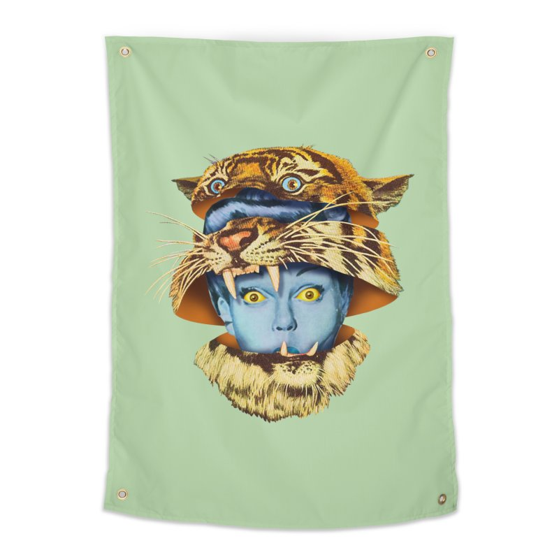 Tiger Lady Home Tapestry by Tom Burns