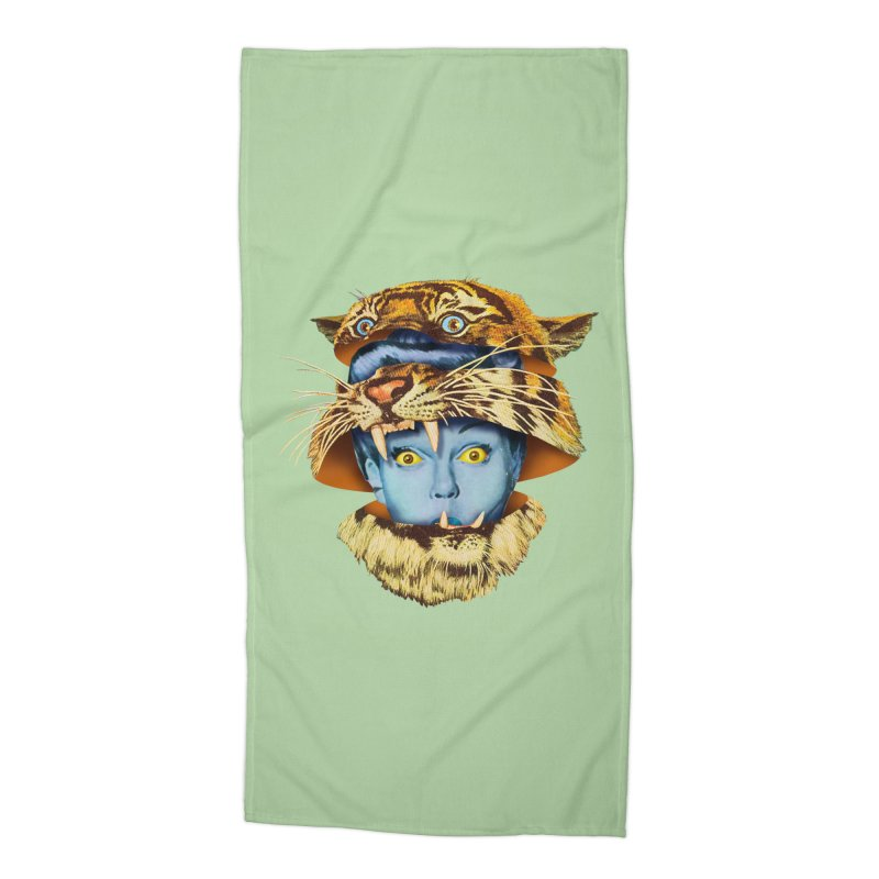 Tiger Lady Accessories Beach Towel by Tom Burns