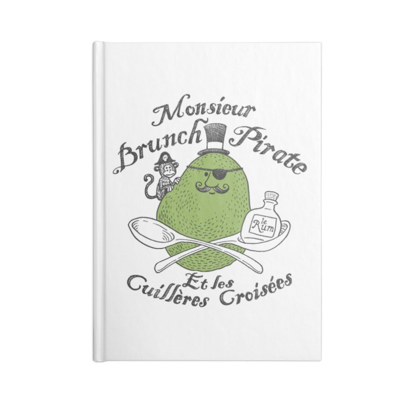 Avocado Brunch Pirate Accessories Lined Journal Notebook by Tom Chitty merch, yo.