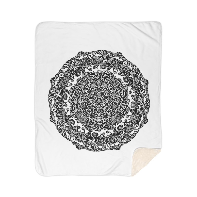 On the Vine (Black) Home Sherpa Blanket Blanket by tomcornish's Artist Shop