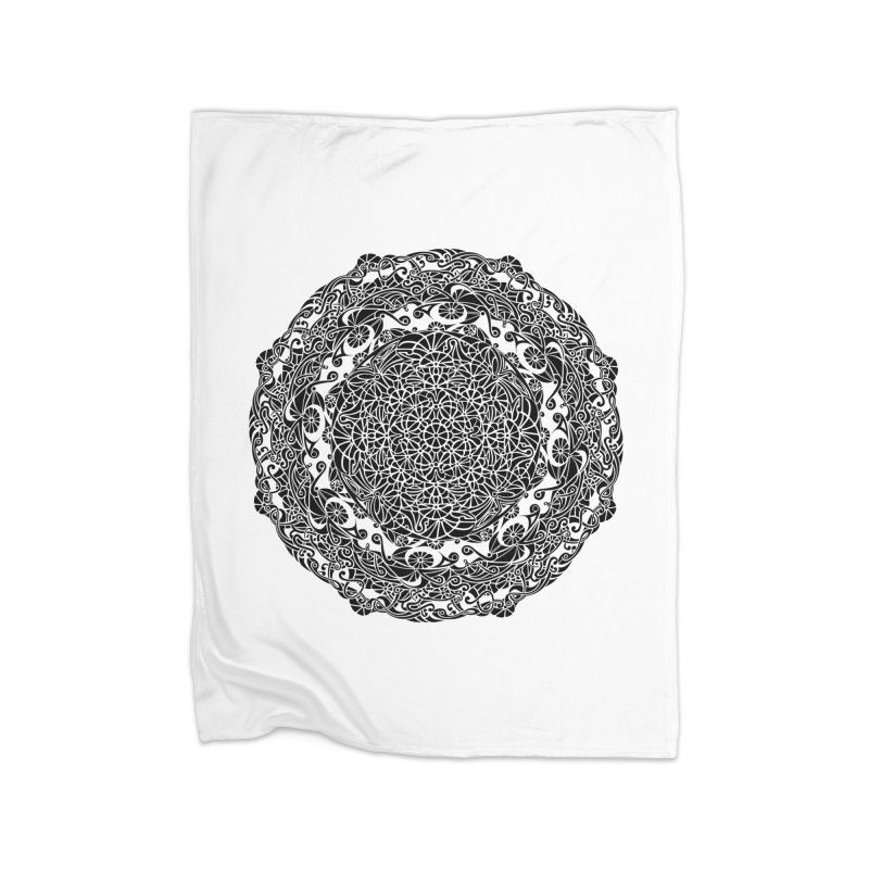 On the Vine (Black) Home Fleece Blanket Blanket by tomcornish's Artist Shop