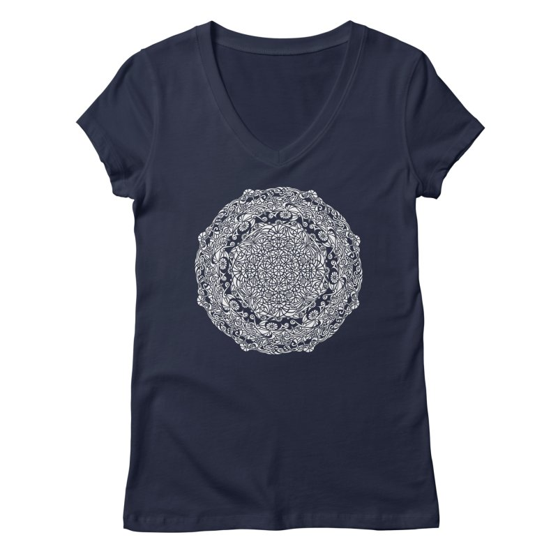On the Vine (White) Women's Regular V-Neck by tomcornish's Artist Shop