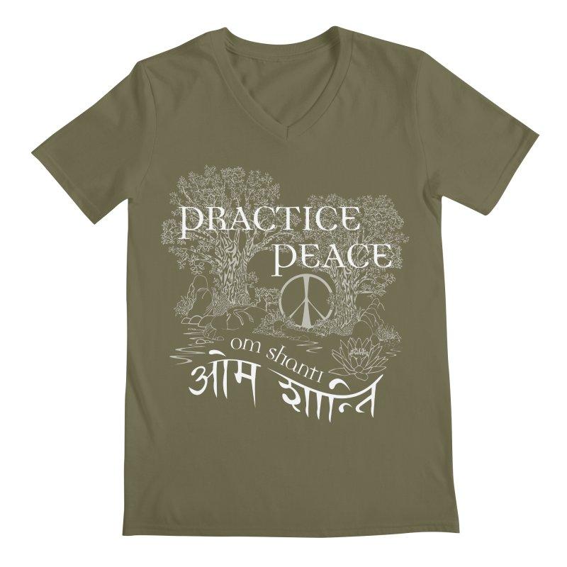 Practice Peace Men's Regular V-Neck by tomcornish's Artist Shop