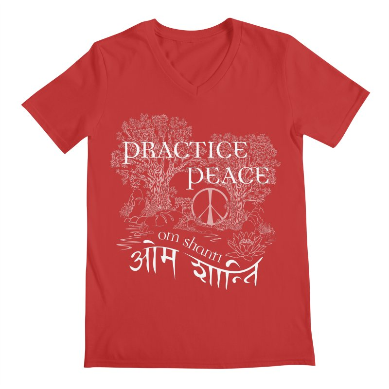 Practice Peace Men's Regular V-Neck by tomcornish's Artist Shop