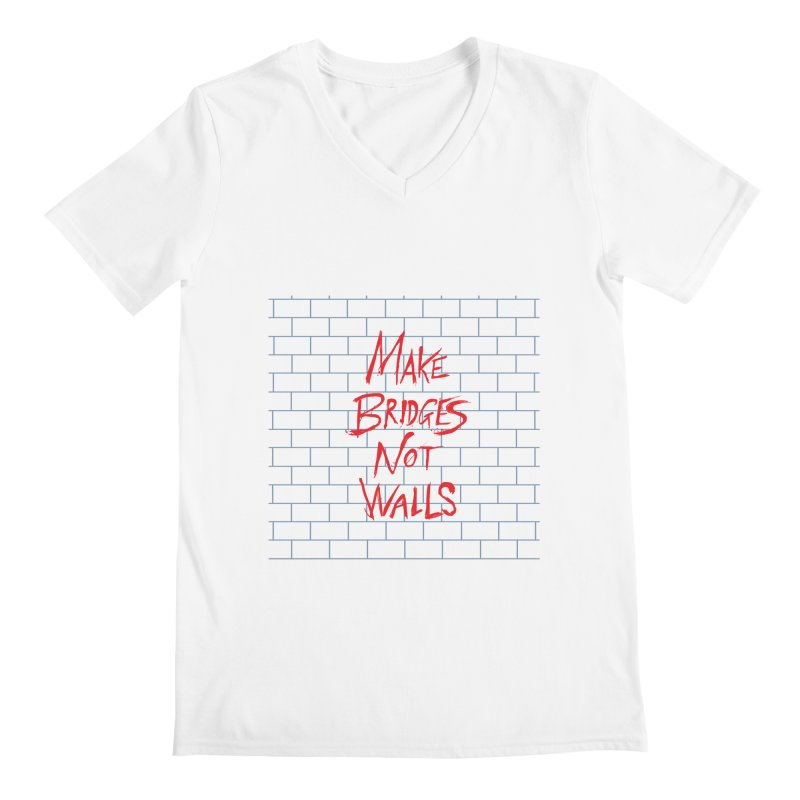 Make Bridges Not Walls Men's Regular V-Neck by Thomas Orrow