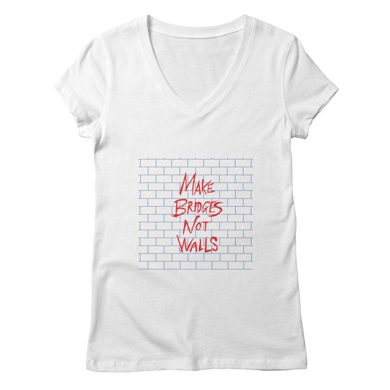 Make Bridges Not Walls Women's Regular V-Neck by Thomas Orrow