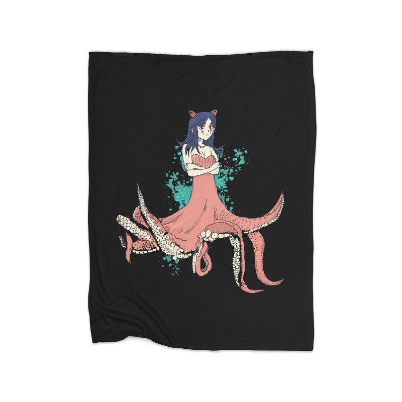 Tentacle Girl Home Fleece Blanket Blanket by Thomas Orrow