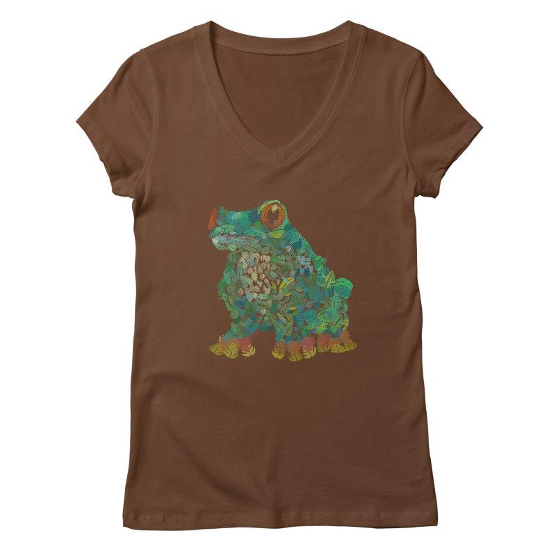 Amazon Tree Frog Women's Regular V-Neck by Thomas Orrow
