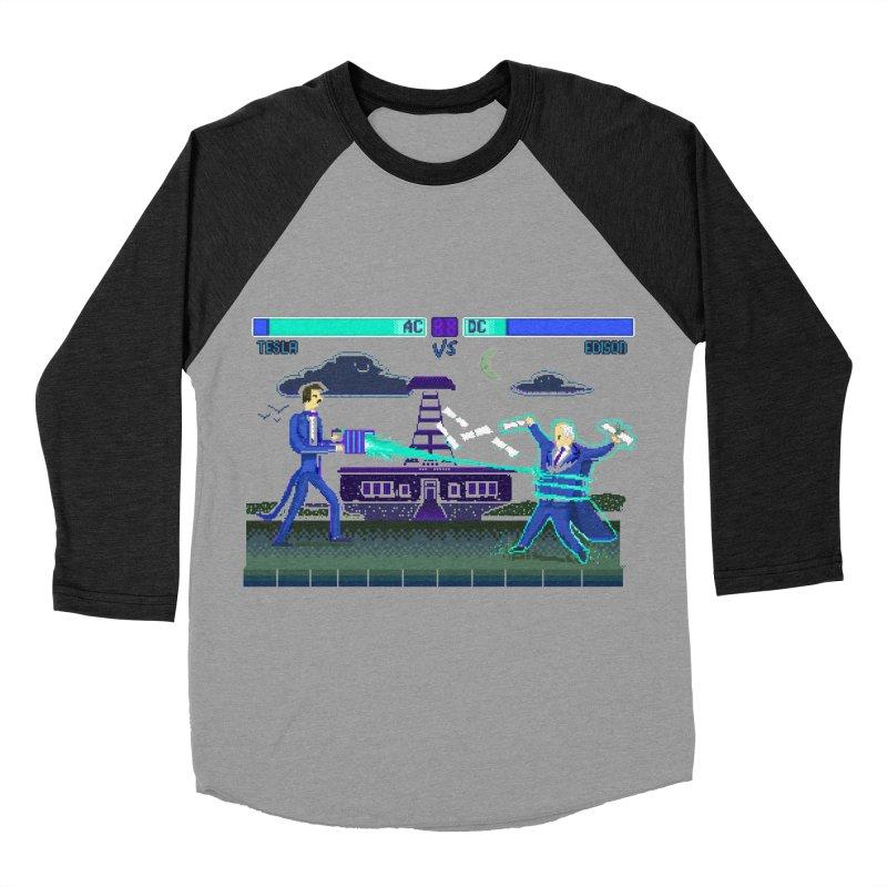 Tesla Vs. Edison Men's Baseball Triblend Longsleeve T-Shirt by Thomas Orrow