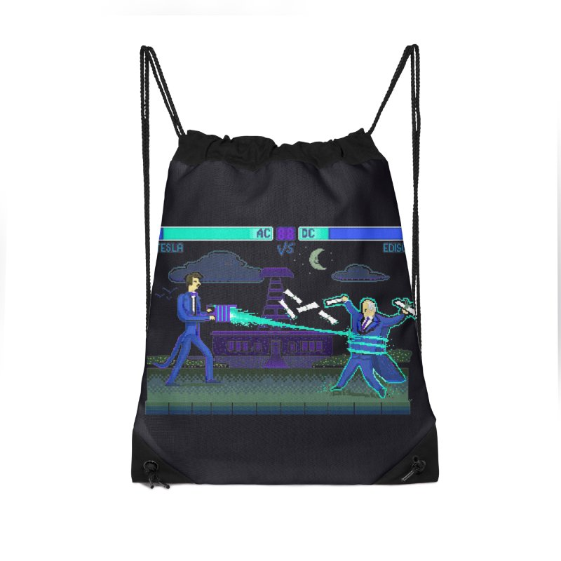 Tesla Vs. Edison Accessories Drawstring Bag Bag by Thomas Orrow