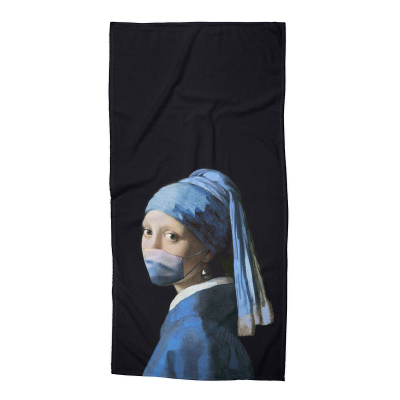 Girl with Covid-19 Accessories Beach Towel by Thomas Orrow