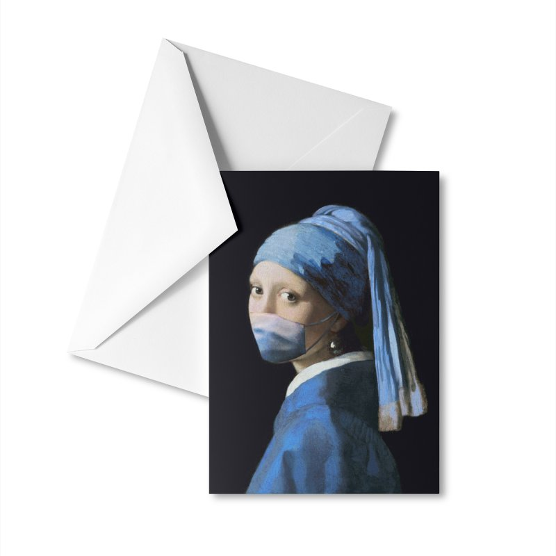 Girl with Covid-19 Accessories Greeting Card by Thomas Orrow