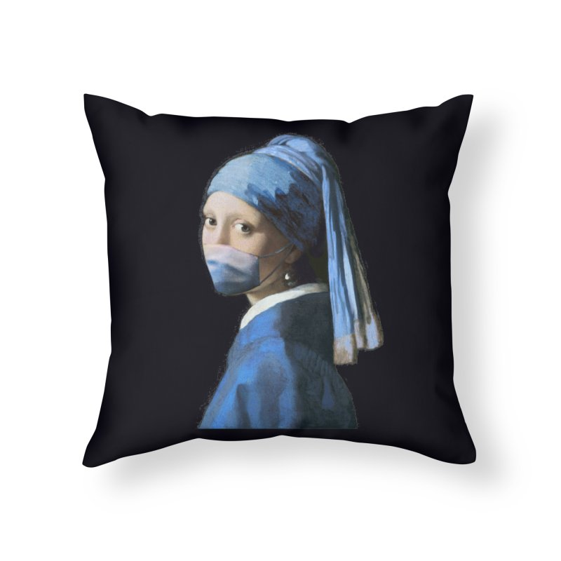 Girl with Covid-19 Home Throw Pillow by Thomas Orrow