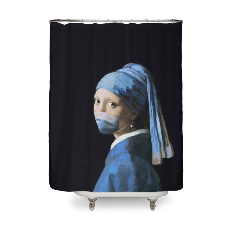 Girl with Covid-19 Home Shower Curtain by Thomas Orrow