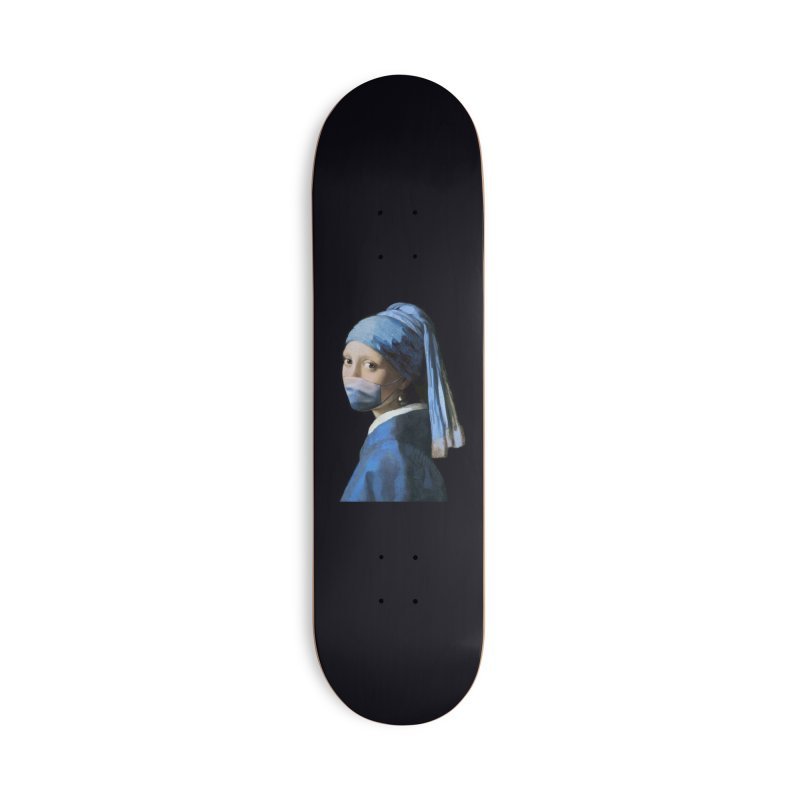 Girl with Covid-19 Accessories Skateboard by Thomas Orrow