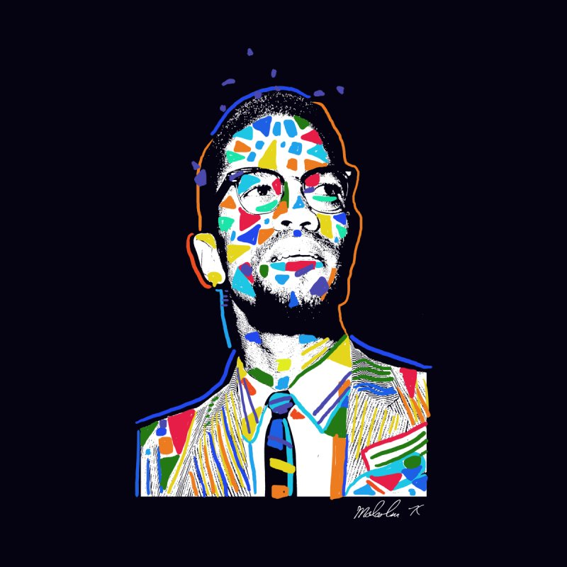 A Portrait of Malcolm X Men's T-Shirt by Thomas Orrow
