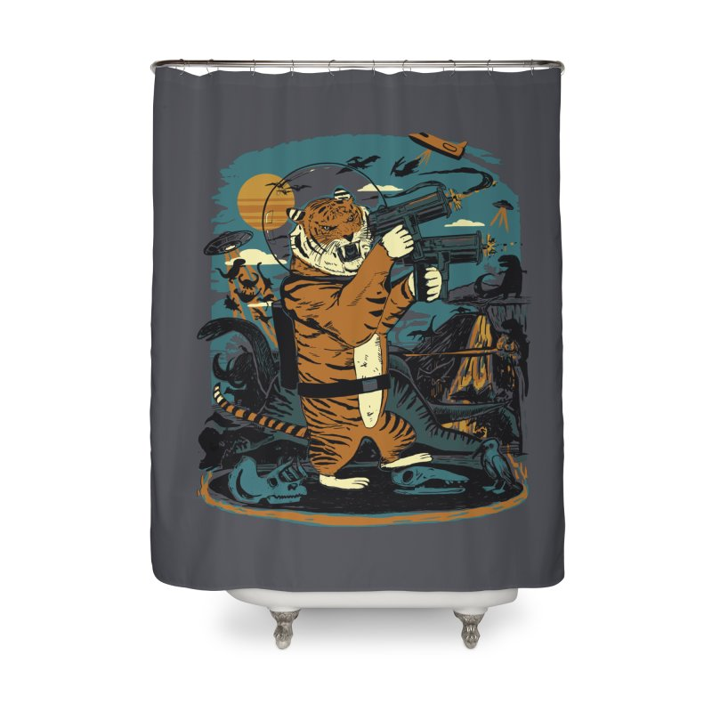 Death to the Dinosaurs Home Shower Curtain by Thomas Orrow