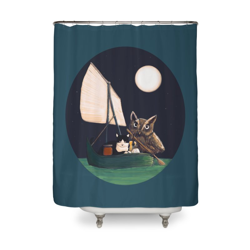 The Owl and the Pussycat Home Shower Curtain by Thomas Orrow