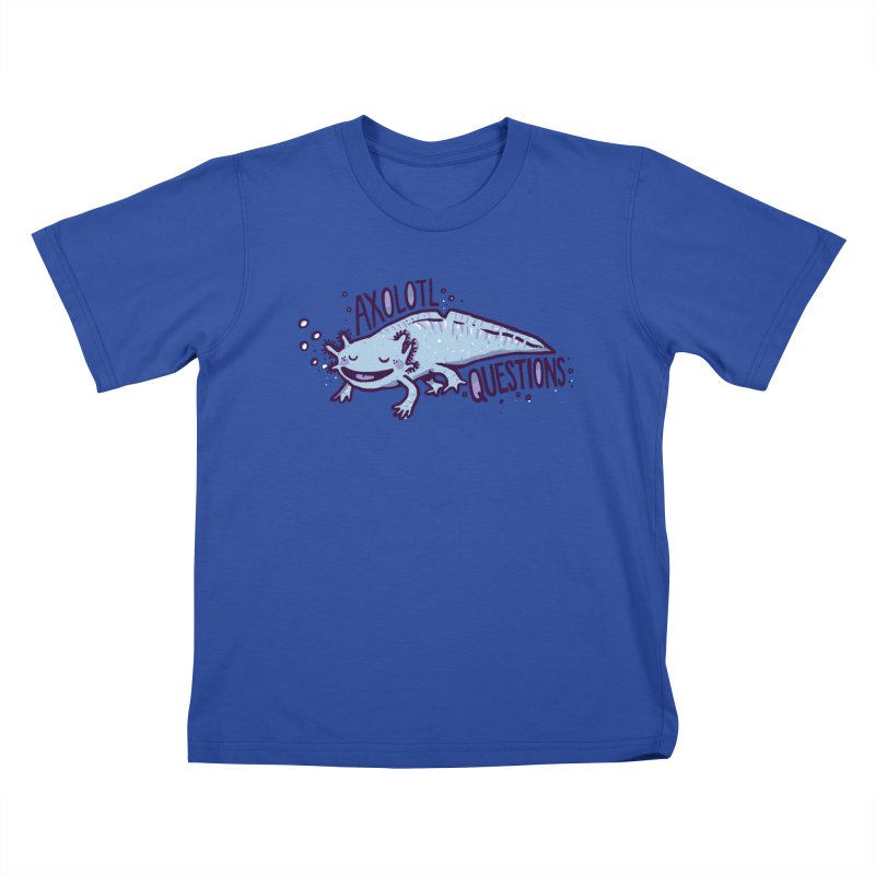Axolotl Questions Kids T-Shirt by Thomas Orrow