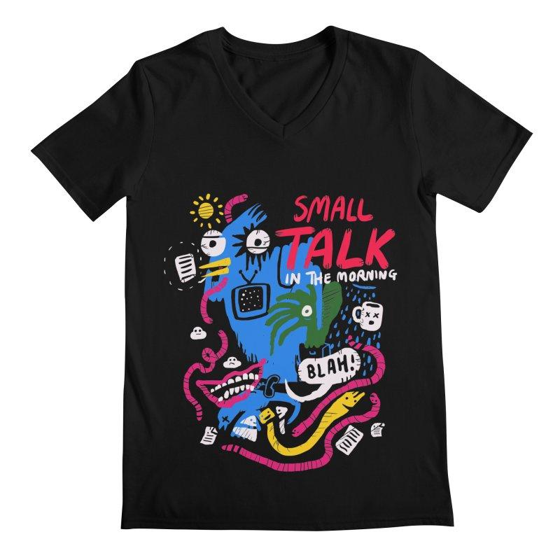 The Horror of Small Talk Men's Regular V-Neck by Thomas Orrow