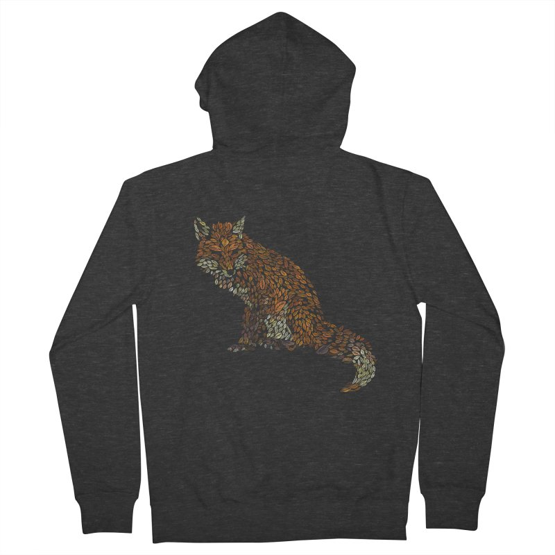 The Fox Leaves at Midnight Men's French Terry Zip-Up Hoody by Thomas Orrow
