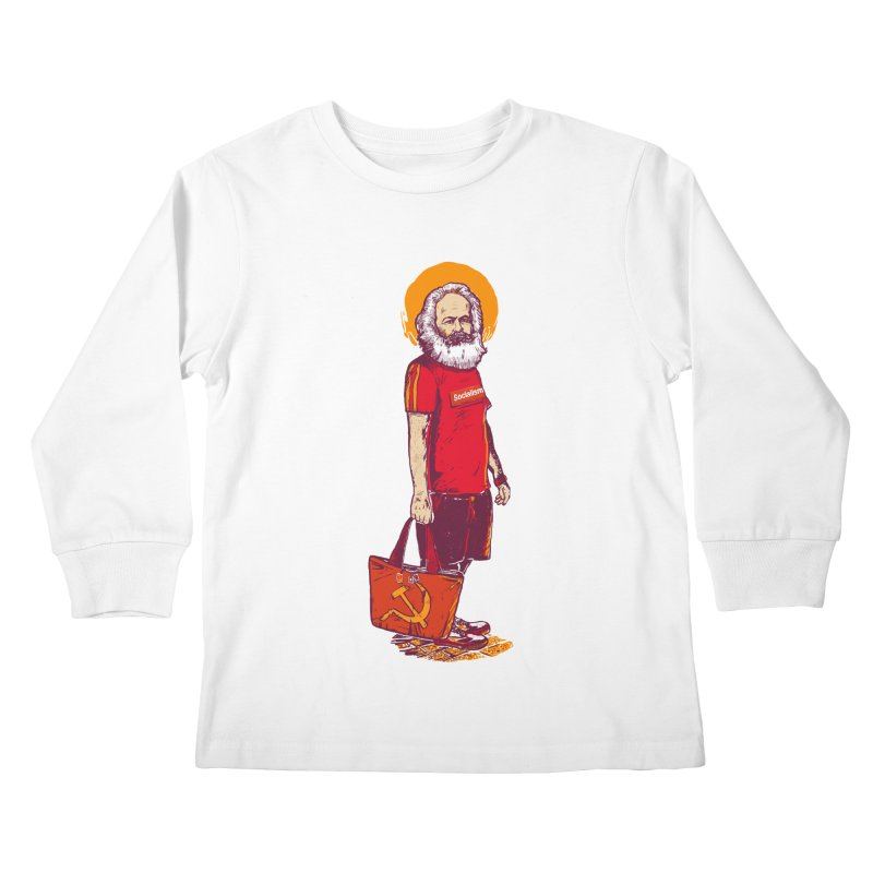 Karl Goes Shopping Kids Longsleeve T-Shirt by Thomas Orrow