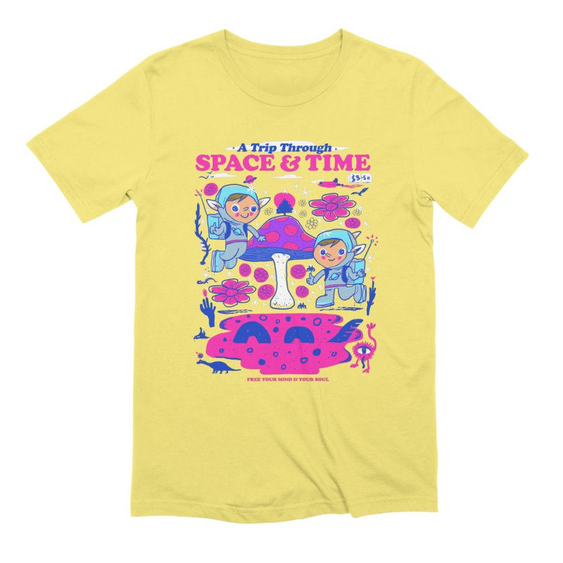 A Trip Through Space and Time in Men's Extra Soft T-Shirt Light Yellow by Thomas Orrow