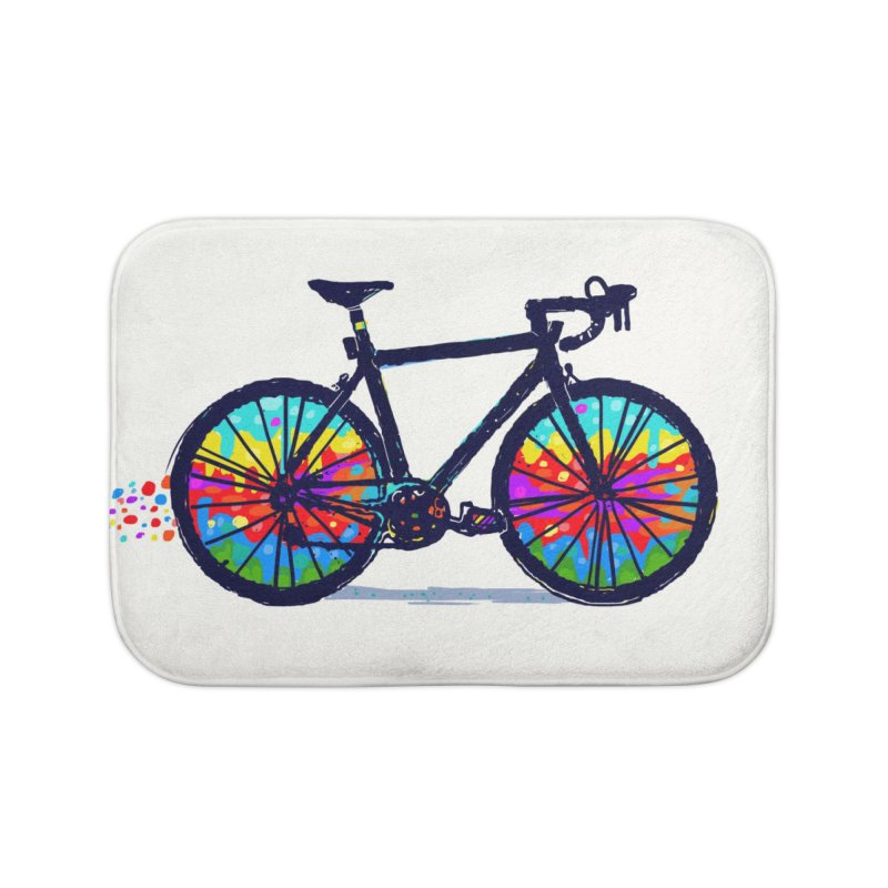 Psychedebicycle Home Bath Mat by Thomas Orrow