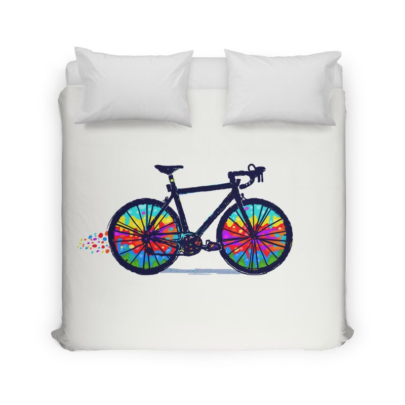 Psychedebicycle Home Duvet by Thomas Orrow