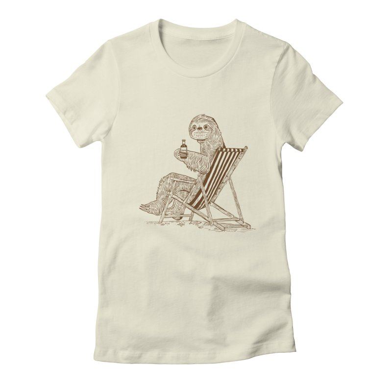 Beach Sloth Women's Fitted T-Shirt by Thomas Orrow