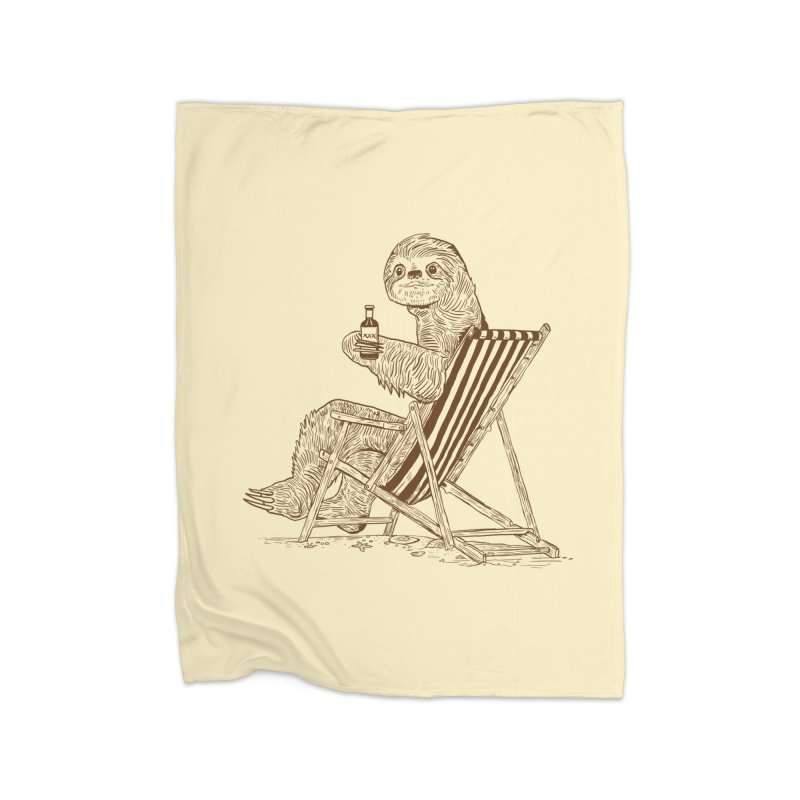 Beach Sloth Home Fleece Blanket Blanket by Thomas Orrow