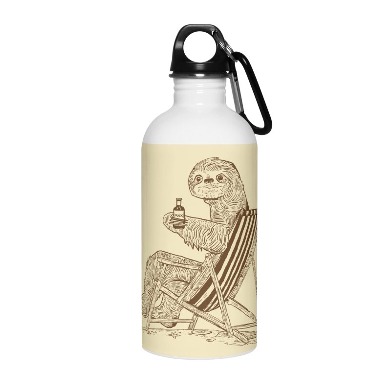 Beach Sloth Accessories Water Bottle by Thomas Orrow