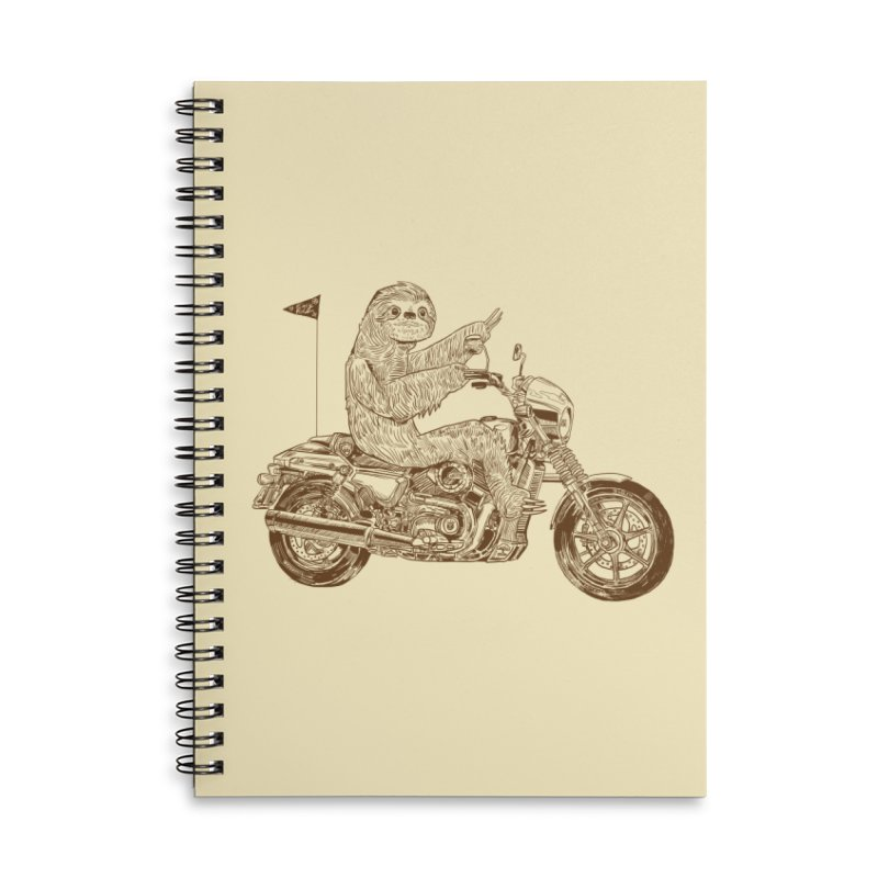 Sloth Rider Accessories Lined Spiral Notebook by Thomas Orrow