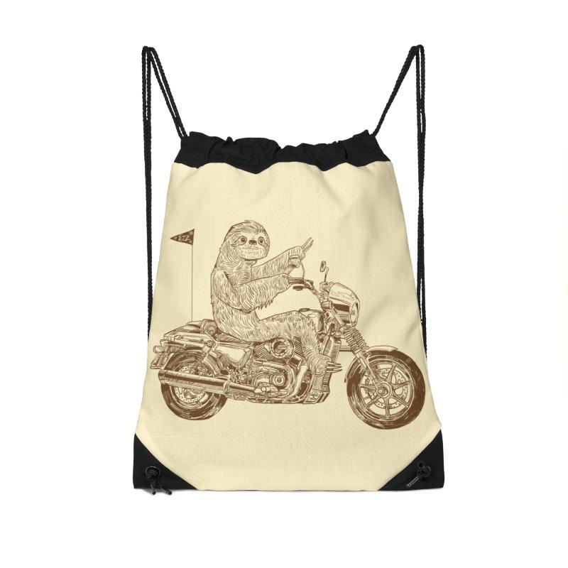 Sloth Rider Accessories Drawstring Bag Bag by Thomas Orrow