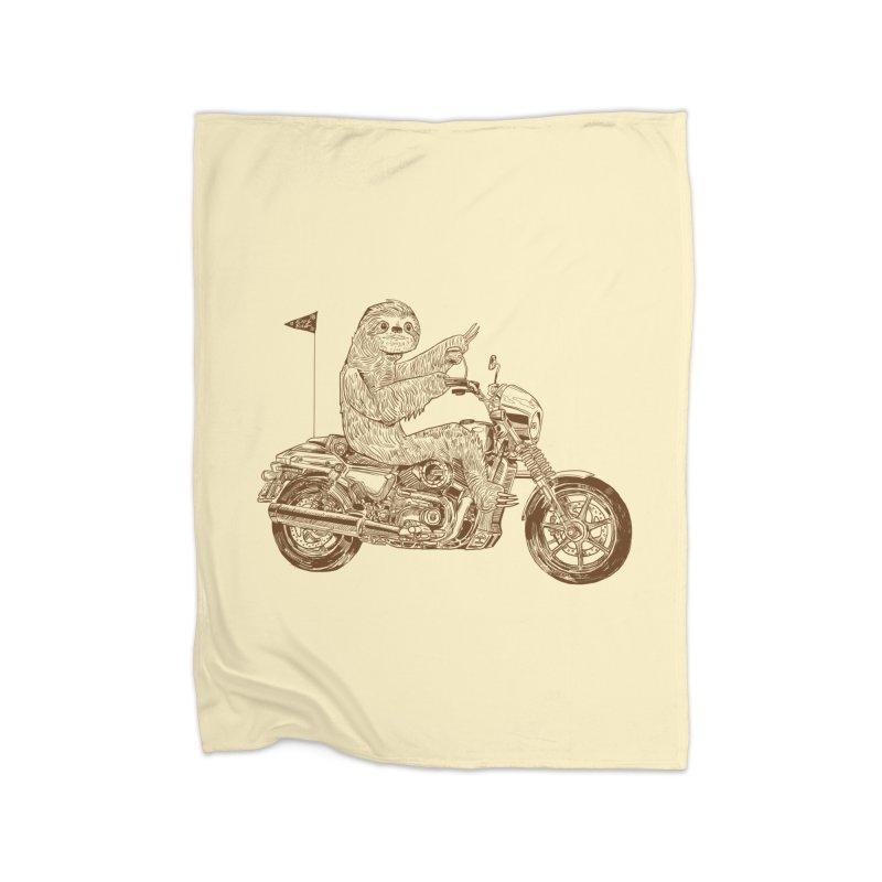 Sloth Rider Home Fleece Blanket Blanket by Thomas Orrow
