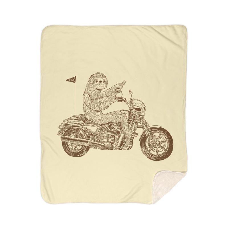 Sloth Rider Home Sherpa Blanket Blanket by Thomas Orrow