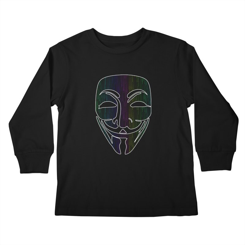 Colored Matrix Anonymous Guy Kids Longsleeve T-Shirt by Tom Spark Reviews Merch