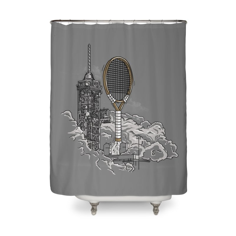 Space Rocket Home Shower Curtain by Tomas Teslik's Artist Shop