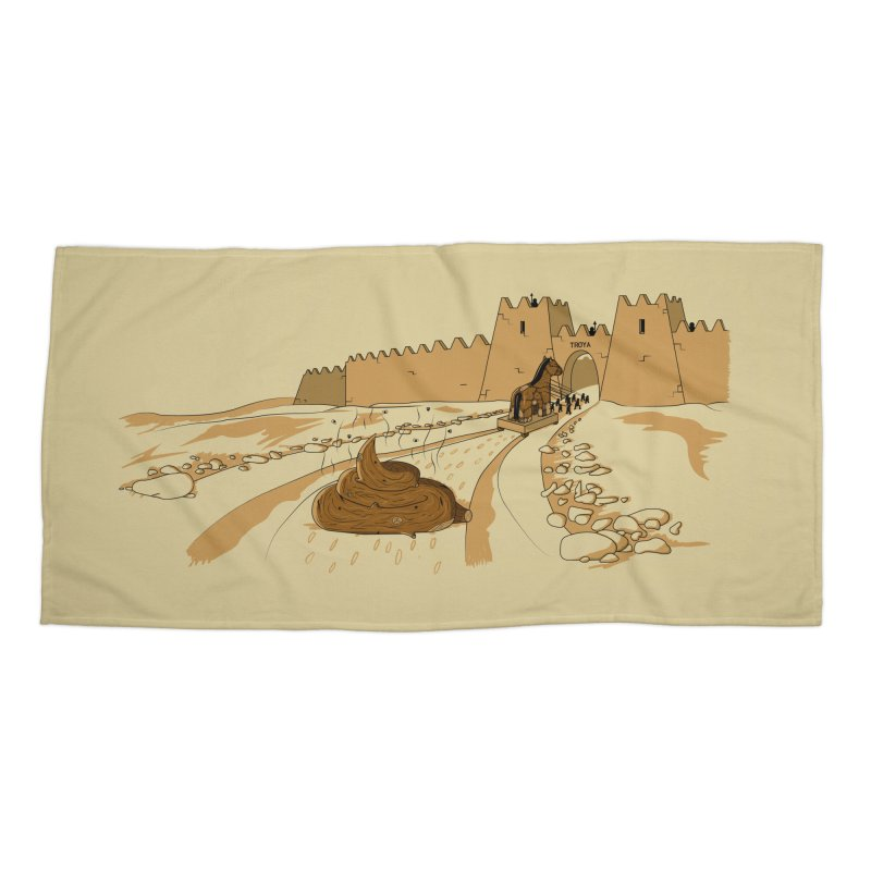 Troyan Horse Accessories Beach Towel by Tomas Teslik's Artist Shop