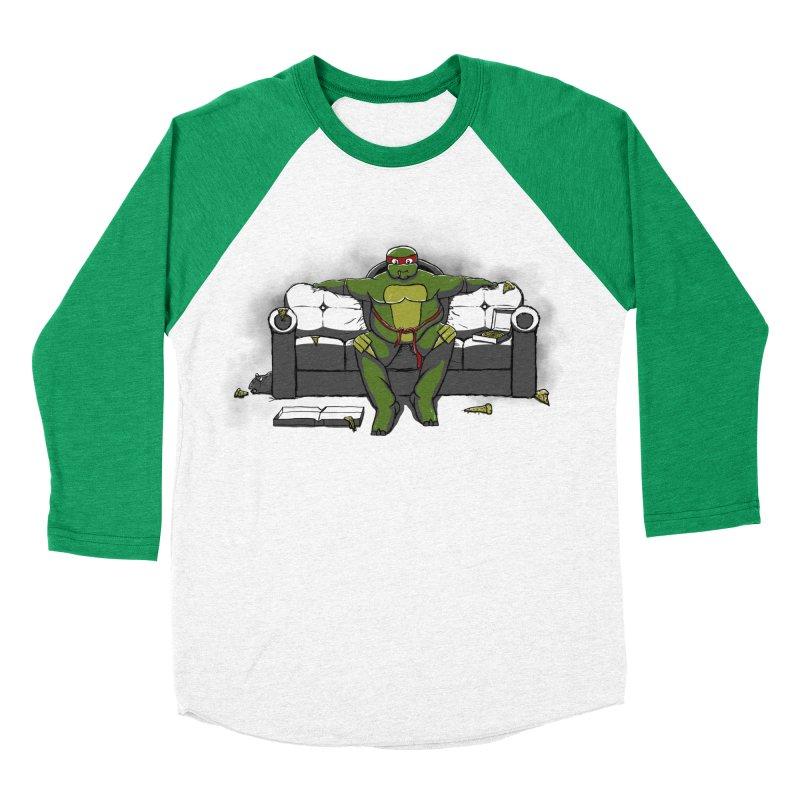 Ninja Fat Turtle Women's Baseball Triblend T-Shirt by Tomas Teslik's Artist Shop