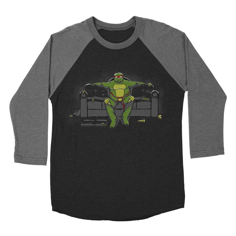 Ninja Fat Turtle Women's Baseball Triblend T-Shirt by Tomas Teslik's Artist Shop