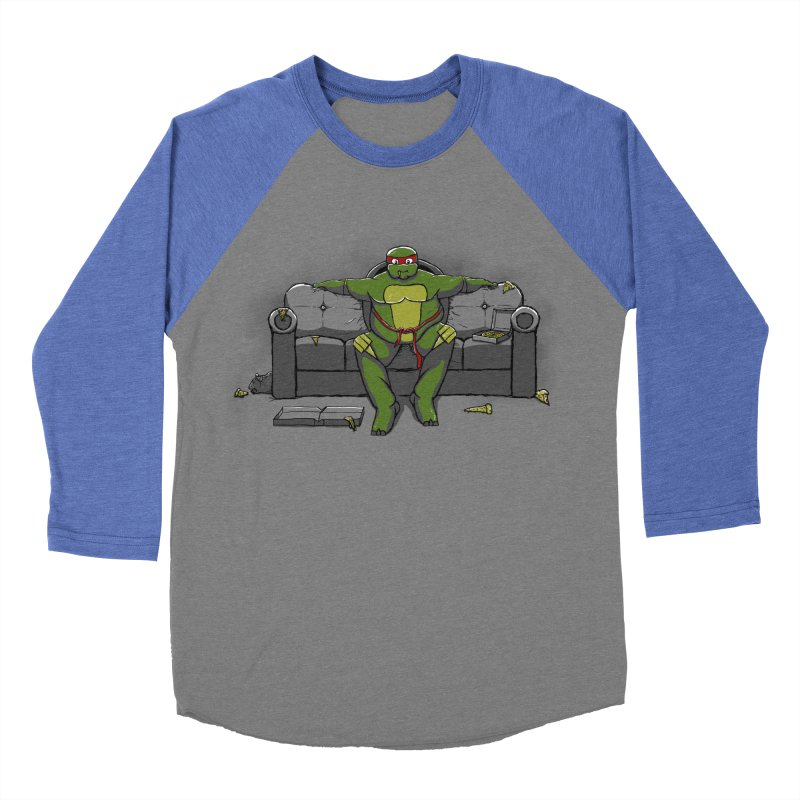 Ninja Fat Turtle Men's Baseball Triblend T-Shirt by Tomas Teslik's Artist Shop
