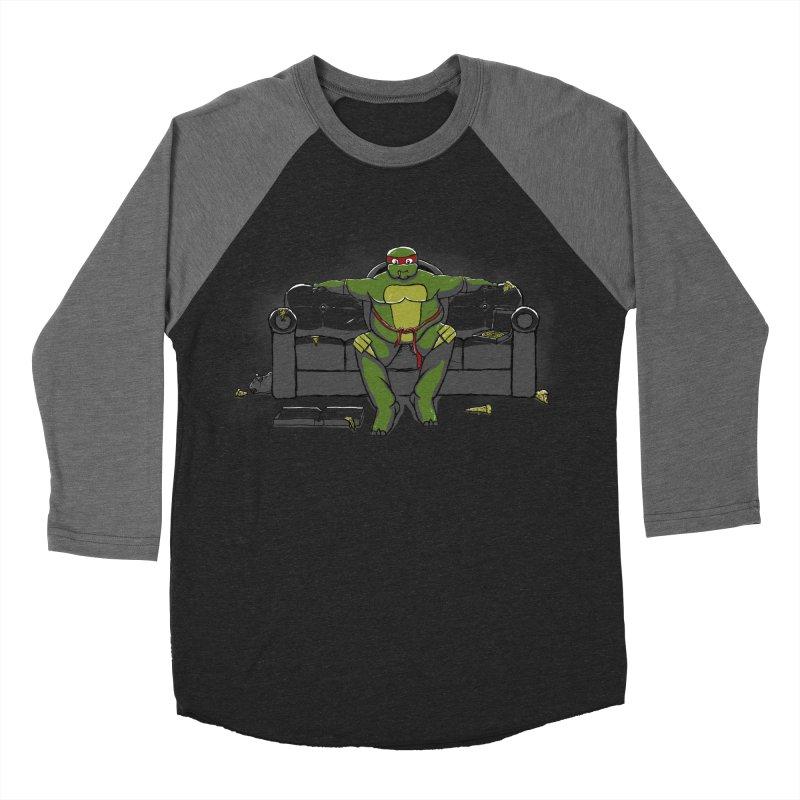 Ninja Fat Turtle Men's Baseball Triblend T-Shirt by Tomas Teslik's Artist Shop