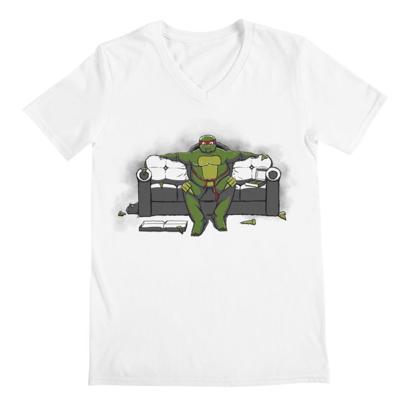 Ninja Fat Turtle Men's V-Neck by Tomas Teslik's Artist Shop