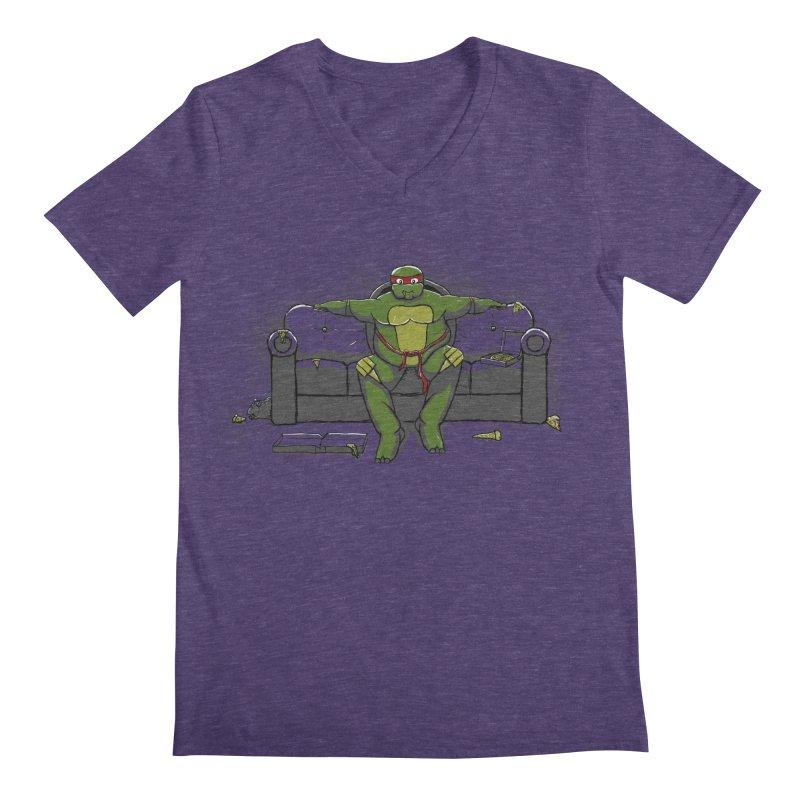 Ninja Fat Turtle Men's V-Neck by Tomas Teslik's Artist Shop