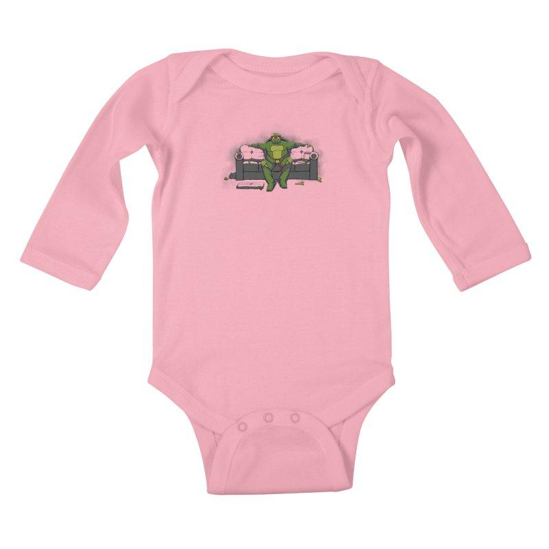 Ninja Fat Turtle Kids Baby Longsleeve Bodysuit by Tomas Teslik's Artist Shop