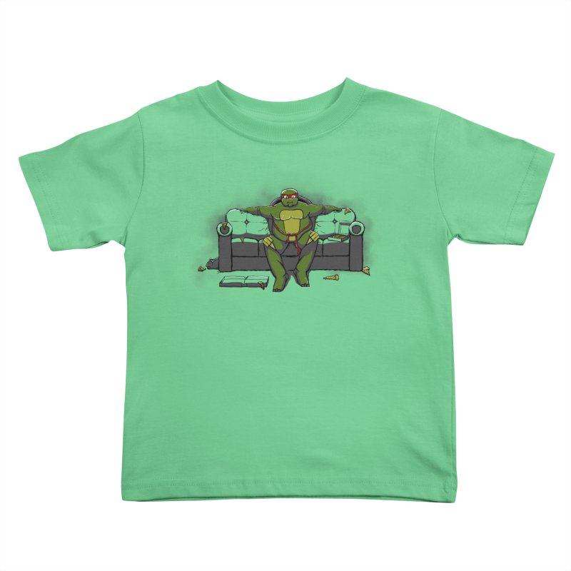 Ninja Fat Turtle Kids Toddler T-Shirt by Tomas Teslik's Artist Shop